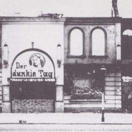 Ruine des Gloriapalastes in der Hildesheimer Straße mit passendem Filmplakat, Privatbesitz