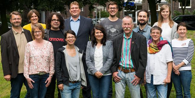 Gruppenbild der Kandidatinnen und Kandidaten für den Stadtbezirksrat Südstadt-Bult zur Kommunalwahl am 11. September 2016.