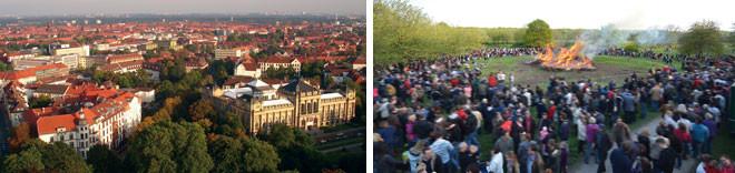 Stadtteildialog: Luftaufnahme der Südstadt und Foto vom Osterfeuer auf der Bult