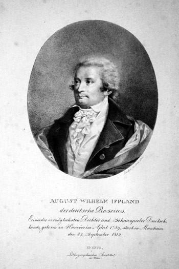 August Wilhelm Iffland, Lithographie von Johann Stephan Decker, 1820